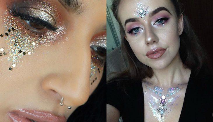 mujer con maquillaje de glitter