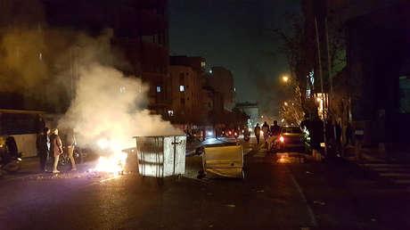 Protestas en Teherán (Irán), el 30 de diciembre de 2017.