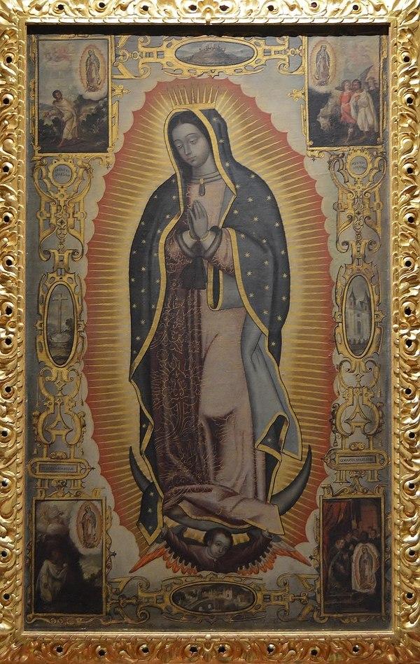 Virgen de Guadalupe (óleo sobre tela, segunda mitad del siglo XVII), de Cristóbal de Villalpando. / Cortesía: Museo del Palacio de Bellas Artes.