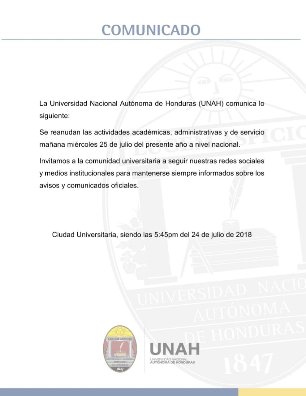 UNAH reanuda actividades el próximo 25 de julio | HCH.TV
