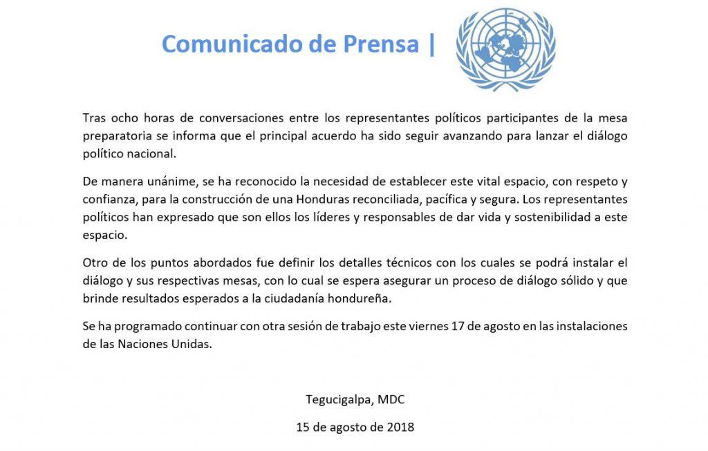 Gran Dialogo arranca el martes 28 anuncia en comunicado de prensa Naciones Unidas